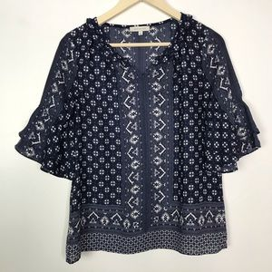 Skies Are Blue Stitch Fix Ruffle Peasant Top Small